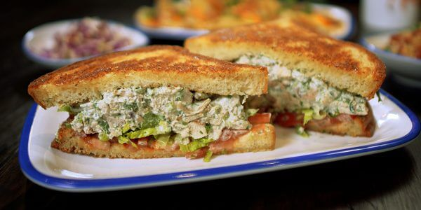 chicken salad sandwich from the menu at Lola's restaurant, Tyler TX