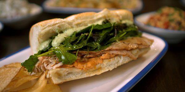 mediterranean sandwich from the menu at Lola's restaurant, Tyler TX