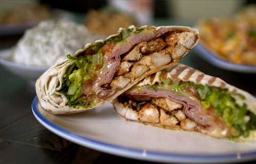 delicious wraps from the menu at Lola's restaurant, Tyler TX