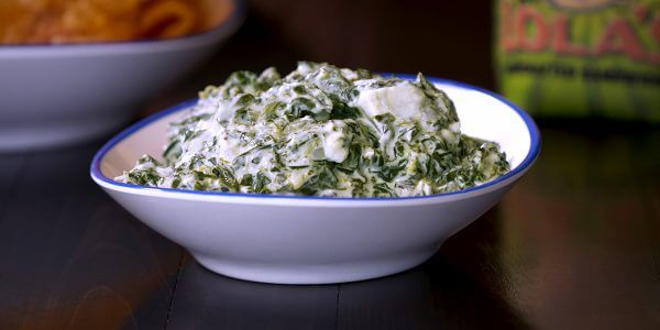 Creamed spinach from menu at Lola's restaurant in Tyler Texas