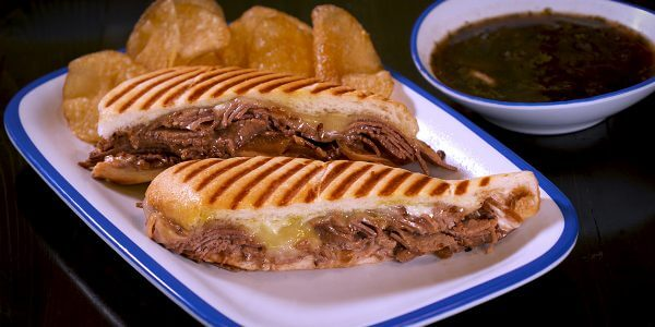French dip handcrafted sandwiches from menu at Lola's restaurant in Tyler Texas