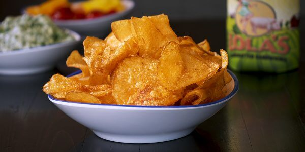 Hand-cut potato chips from menu at Lola's restaurant in Tyler Texas
