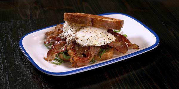 belt sandwich from brunch menu at Lola's restaurant, Tyler TX