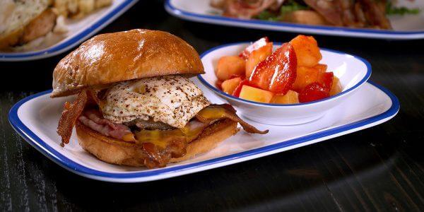 breakfast club sandwich from brunch menu at Lola's restaurant, Tyler TX