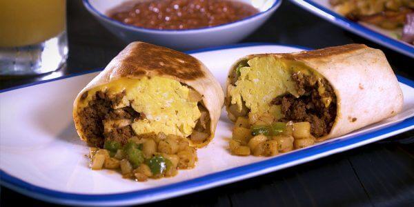 Chorizorrito burrito with onion, potato, egg, cheddar, fresh salsa from Lola's handcrafted sandwiches Tyler Texas
