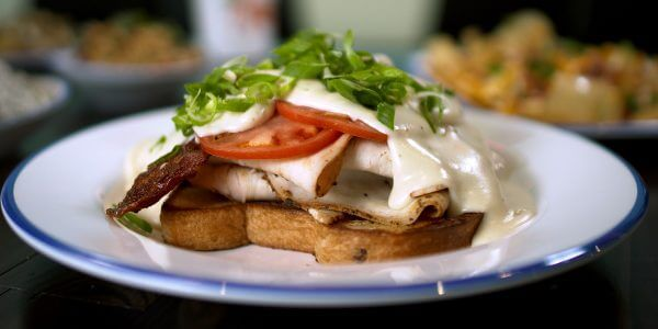 kentucky hot brown sandwich from the menu at Lola's restaurant, Tyler TX