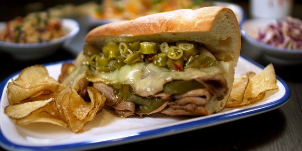 italian beef sandwich from the menu at Lola's restaurant, Tyler TX