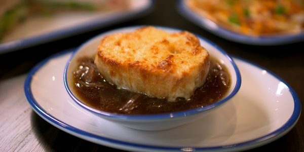 french onion soup from the menu at Lola's restaurant, Tyler TX