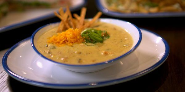 roasted poblano white chicken soup from the menu at Lola's restaurant, Tyler TX