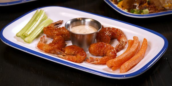sweet and spicy shrimp from the menu at Lola's restaurant, Tyler TX
