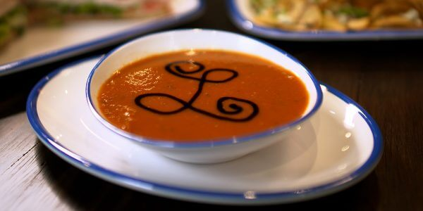 tomato basil soup from the menu at Lola's restaurant, Tyler TX